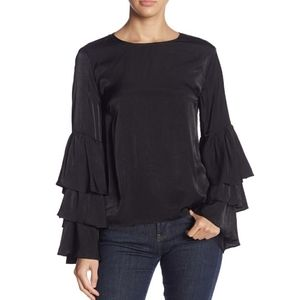 DO & BE Tiered Bell Sleeve Open Back Blouse